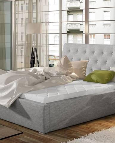 Monzo 180 čalúnená manželská posteľ s roštom svetlosivá (Sawana 21)