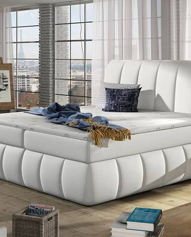 Vareso 160 čalúnená manželská posteľ s úložným priestorom biela