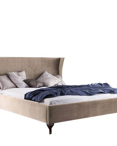 TARANKO Classic CL-1 140 čalúnená manželská posteľ svetlohnedá (Velvet-B1 148)