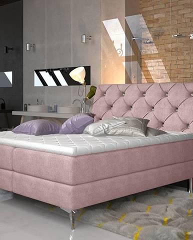 Amika 180 čalúnená manželská posteľ s úložným priestorom ružová (Omega 91)