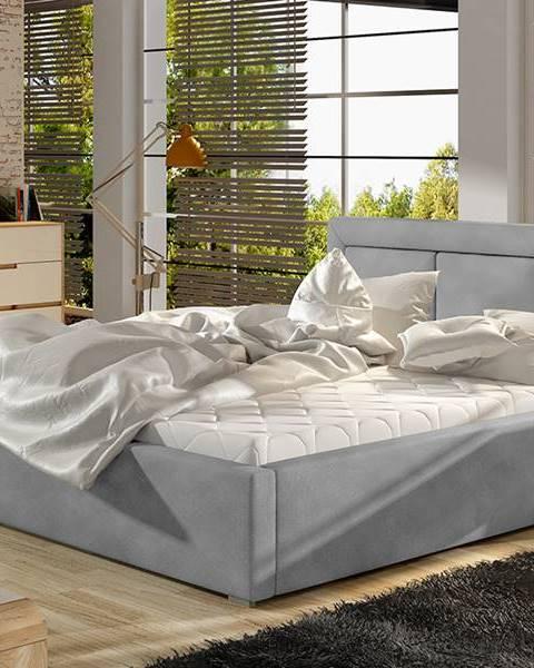NABBI Branco 160 čalúnená manželská posteľ s roštom svetlosivá (Paros 05)