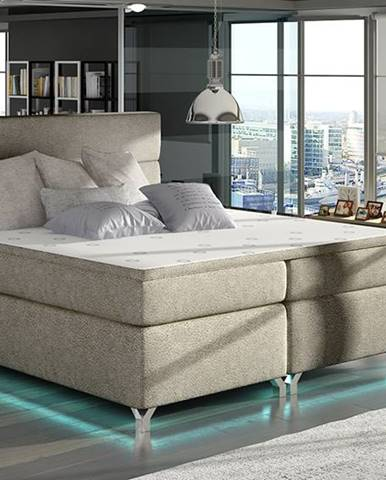 Avellino 160 čalúnená manželská posteľ s úložným priestorom svetlohnedá