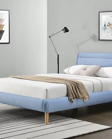 Elanda 160 čalúnená manželská posteľ s roštom svetlomodrá