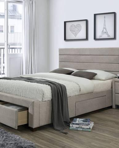 Kayleon 160 čalúnená manželská posteľ s roštom béžová