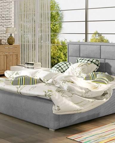 Liza UP 200 čalúnená manželská posteľ s roštom svetlosivá (Paros 05)