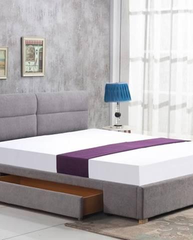 Merida 160 čalúnená manželská posteľ s roštom svetlosivá