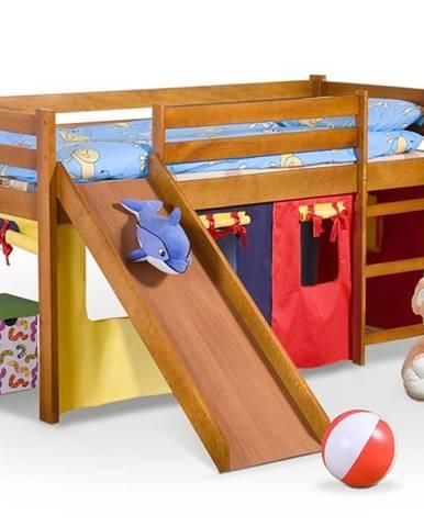 Neo Plus 80 drevená poschodová posteľ s roštom a matracom jelša