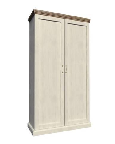 Royal S2D 2D šatníková skriňa biela sosna nordická