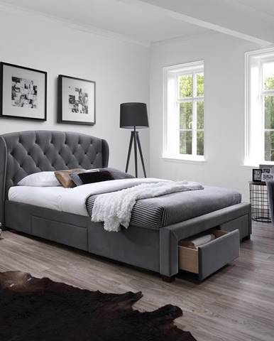 Sabrina 160 čalúnená manželská posteľ s roštom sivá