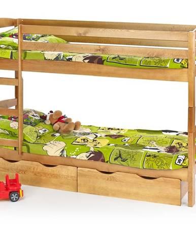 Sam 80 drevená poschodová posteľ s roštami a matracmi jelša