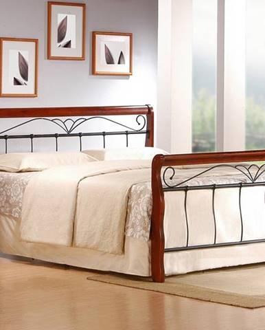 Veronica 160 kovová manželská posteľ s roštom čerešňa antická