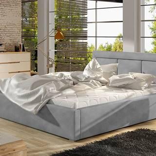 Branco 160 čalúnená manželská posteľ s roštom svetlosivá (Paros 05)