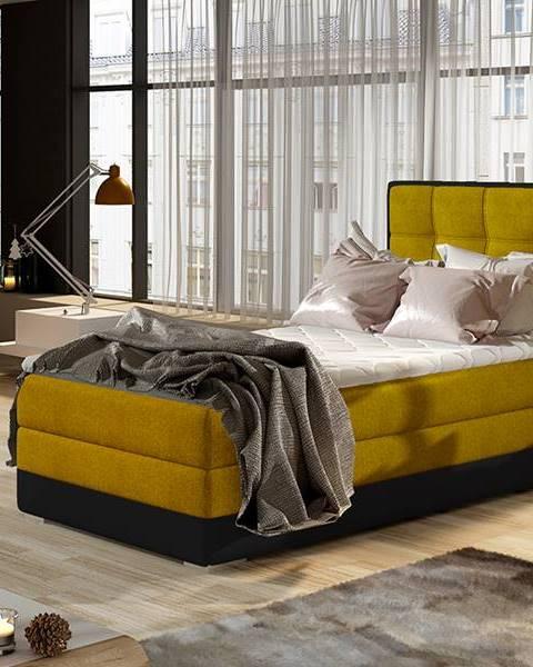 NABBI Alessandra 90 P čalúnená jednolôžková posteľ žltá