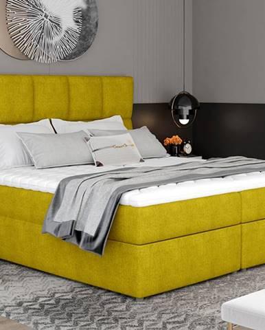 Grosio 165 čalúnená manželská posteľ s úložným priestorom žltá