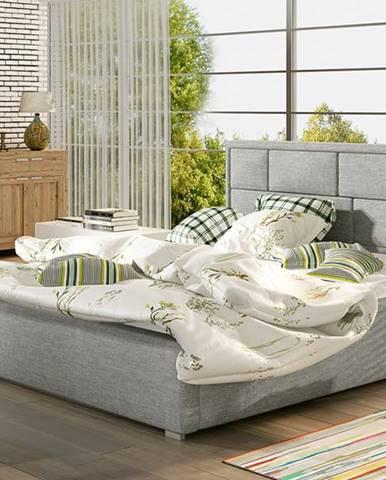 Liza 140 čalúnená manželská posteľ s roštom svetlosivá (Sawana 21)