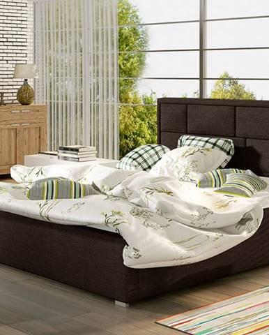 Liza 200 čalúnená manželská posteľ s roštom tmavohnedá (Sawana 26)