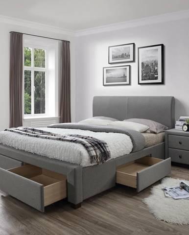 Modena 140 čalúnená manželská posteľ s roštom sivá