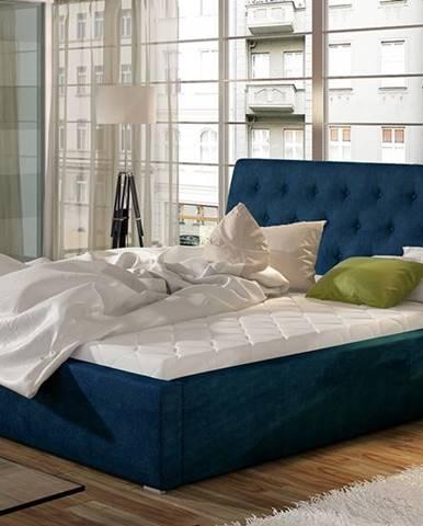 Monzo 180 čalúnená manželská posteľ s roštom tmavomodrá