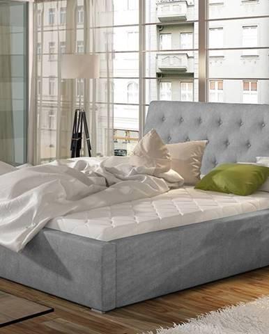 Monzo 200 čalúnená manželská posteľ s roštom svetlosivá (Paros 05)