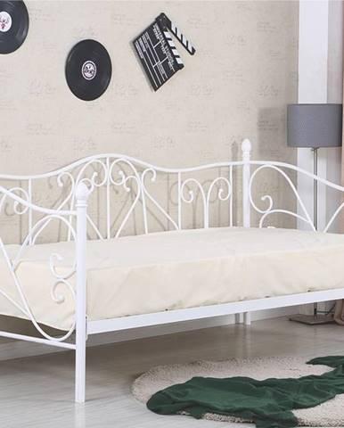 Sumatra 90 kovová jednolôžková posteľ s roštom biela