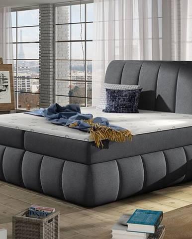 Vareso 180 čalúnená manželská posteľ s úložným priestorom tmavosivá (Orinoco 96)