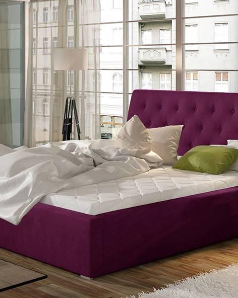 NABBI Monzo UP 140 čalúnená manželská posteľ s roštom vínová