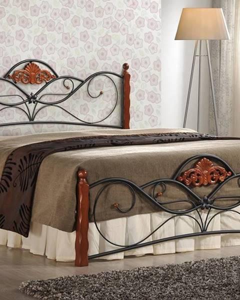 Halmar Valentina 160 kovová manželská posteľ s roštom čerešňa antická