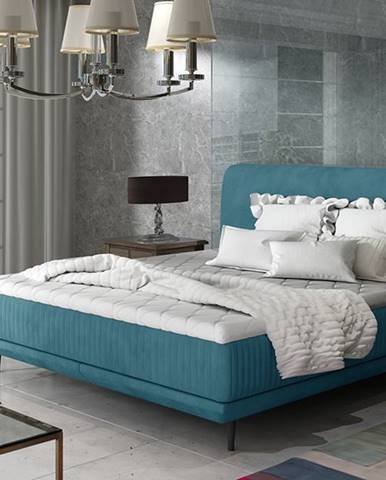 Ancona 160 čalúnená manželská posteľ tyrkysová