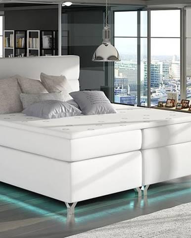 Avellino 160 čalúnená manželská posteľ s úložným priestorom biela
