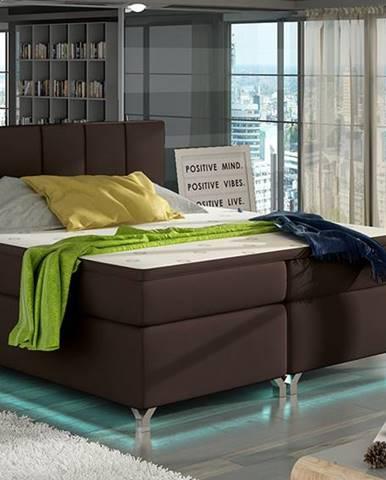 Barino 180 čalúnená manželská posteľ s úložným priestorom tmavohnedá (Soft 66)