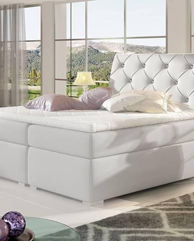 Beneto 180 čalúnená manželská posteľ s úložným priestorom biela
