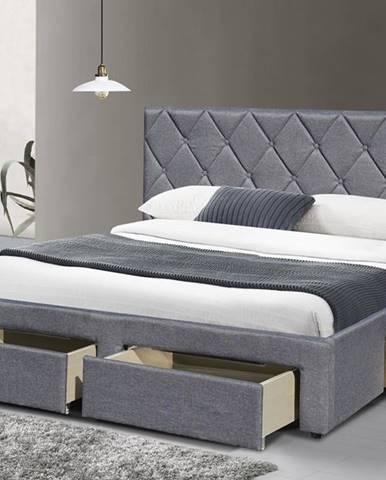 Betina 160 čalúnená manželská posteľ s roštom sivá