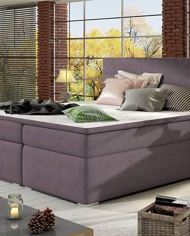Diana 160 čalúnená manželská posteľ s úložným priestorom fialová