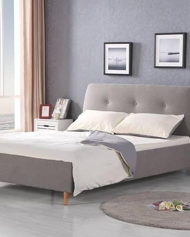 Doris 160 čalúnená manželská posteľ s roštom sivá