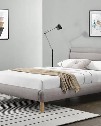 Elanda 140 čalúnená manželská posteľ s roštom svetlosivá