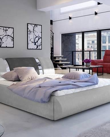 Folino 180 čalúnená manželská posteľ s roštom svetlosivá