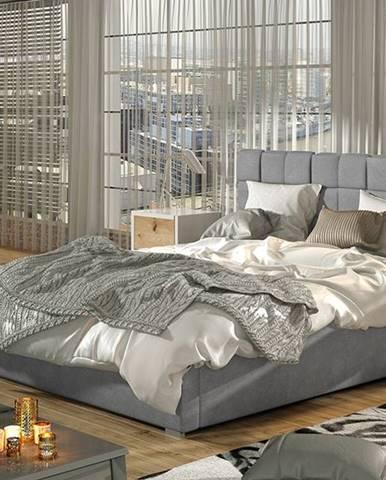 Galimo UP 160 čalúnená manželská posteľ s roštom svetlosivá