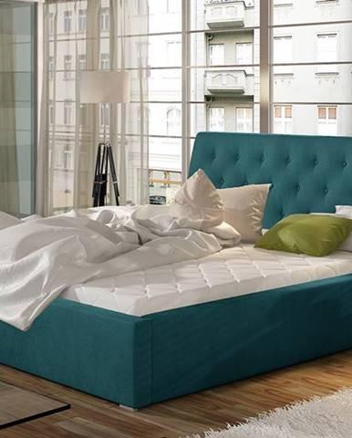 Monzo 200 čalúnená manželská posteľ s roštom tyrkysová