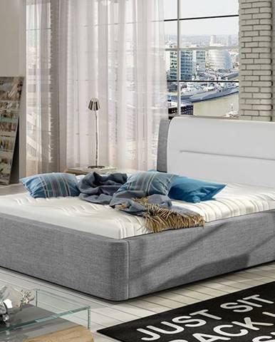 Portima 160 čalúnená manželská posteľ svetlosivá