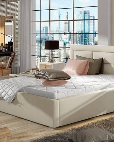 Rovigo 160 čalúnená manželská posteľ s roštom béžová