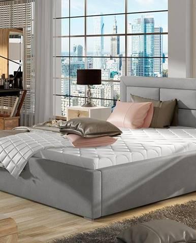 Rovigo 200 čalúnená manželská posteľ s roštom svetlosivá (Paros 05)