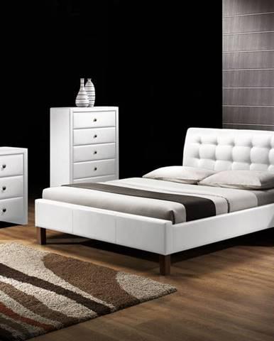 Samara 160 čalúnená manželská posteľ s roštom biela