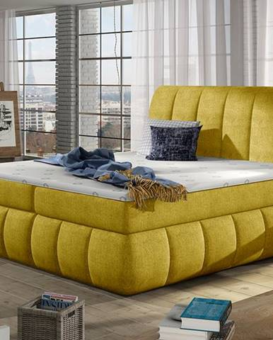 Vareso 160 čalúnená manželská posteľ s úložným priestorom žltá