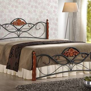 Valentina 160 kovová manželská posteľ s roštom čerešňa antická