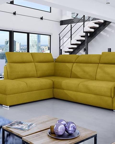 NABBI Leren L rohová sedačka s rozkladom a úložným priestorom žltá