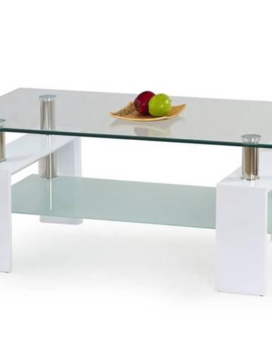 Diana H sklenený konferenčný stolík biely lesk