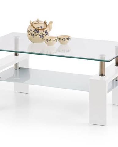 Diana Intro sklenený konferenčný stolík biely lesk