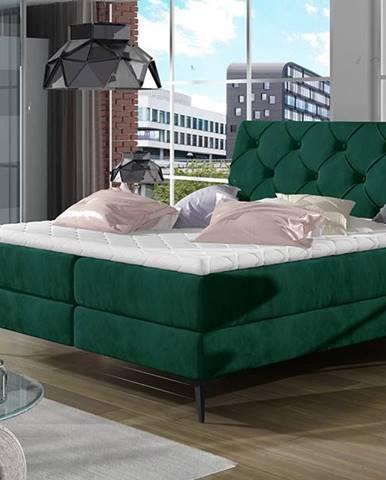 Lazio 180 čalúnená manželská posteľ s úložným priestorom tmavozelená