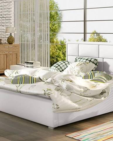 Liza 140 čalúnená manželská posteľ s roštom biela