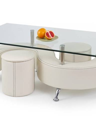 Nina 3 H sklenený konferenčný stolík s taburetkami biela